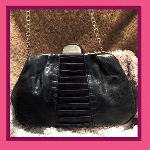 BCBG Max Azria Black Leather Kiss lock Wristlet